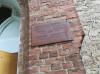 Лютеранская церковь, Далбе, Рижский район, лето 2019 г. Охранная табличка из кровельного железа.