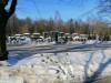 II лесное кладбище, Рига, февраль 2021 г. Первый в Латвии колумбарий. Вид на колумбарий со стороны трамвайных путей.